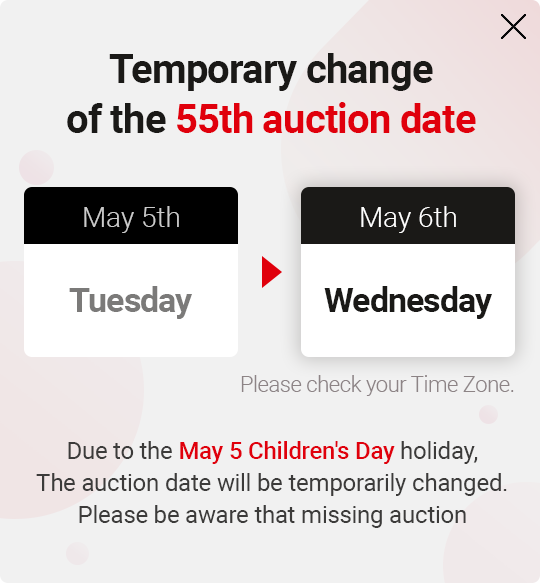 Temporary change of the 55th auction date